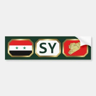 シリアの旗の地図コードバンパーステッカー バンパーステッカー