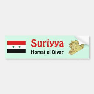 シリアの旗 + 地図のバンパーステッカー バンパーステッカー