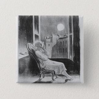 シリーズ「Les Basブルー」の、Oの月 缶バッジ