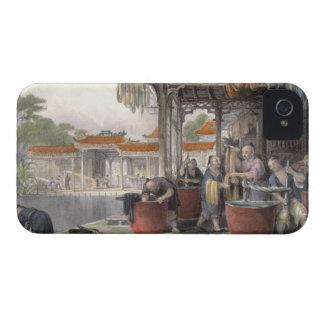 「シリーズoの中国からの染まり、巻く絹、 Case-Mate iPhone 4 ケース