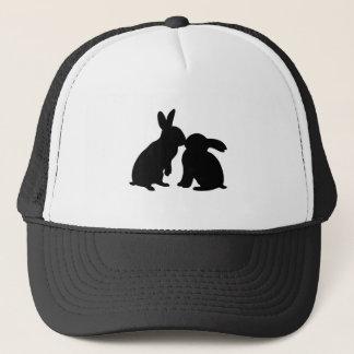 シルエットに接吻しているウサギ キャップ