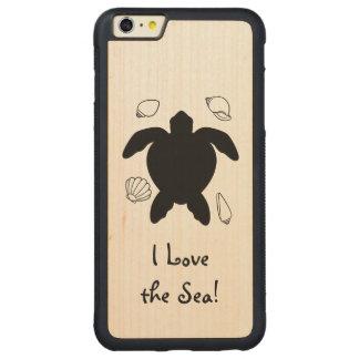 シルエットのカメ: 私は海を愛します! CarvedメープルiPhone 6 PLUSバンパーケース