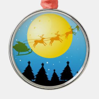 シルエットのクリスマスツリーおよびサンタ メタルオーナメント
