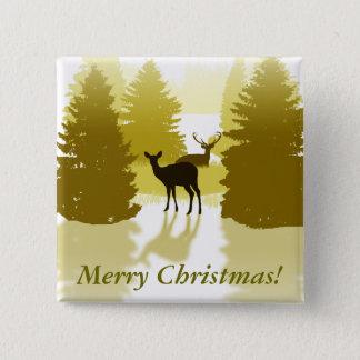 シルエットのシカの森林クリスマス 5.1CM 正方形バッジ