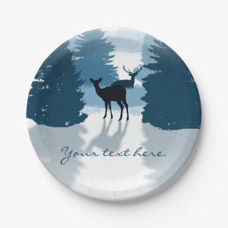 シルエットのシカの森林紙皿 ペーパープレート