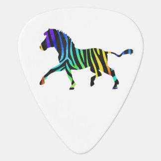 シルエットのシマウマの黒および虹 ギターピック