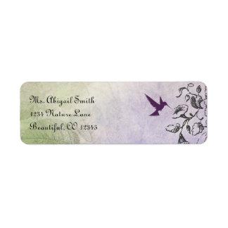 シルエットのハチドリおよび花の宛名ラベル 返信用宛名ラベル