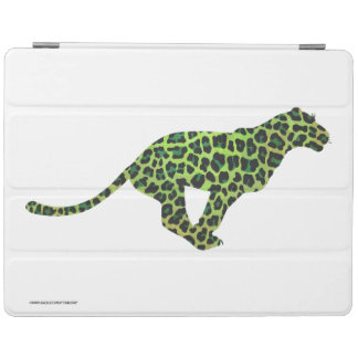 シルエットのヒョウの黒および緑 iPadスマートカバー