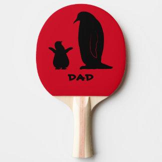 シルエットのペンギンそしてひよこ 卓球ラケット