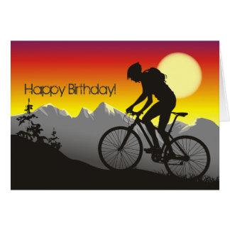 シルエットのマウンテンバイクのハッピーバースデー カード