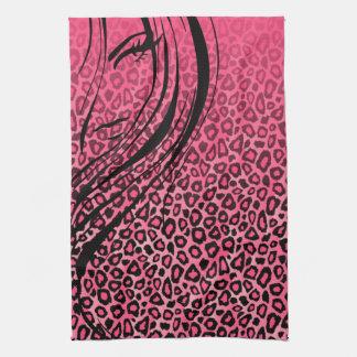 シルエットの女の子|のピンクのヒョウのアニマルプリント キッチンタオル