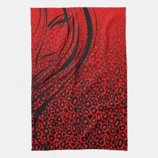シルエットの女の子|の赤いヒョウのアニマルプリント キッチンタオル