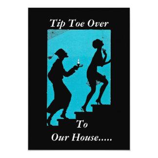 シルエットの気色悪いカップル階段ハローウィンパーティ カード