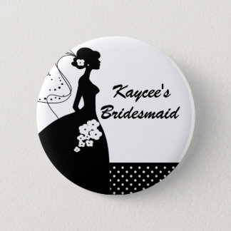 シルエットの花嫁のブライダルパーティの新婦付添人ボタン 5.7CM 丸型バッジ