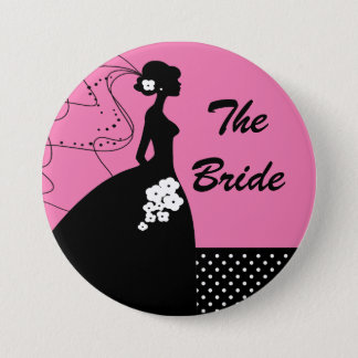 シルエットの花嫁のブライダルパーティボタン/Pin 7.6cm 丸型バッジ