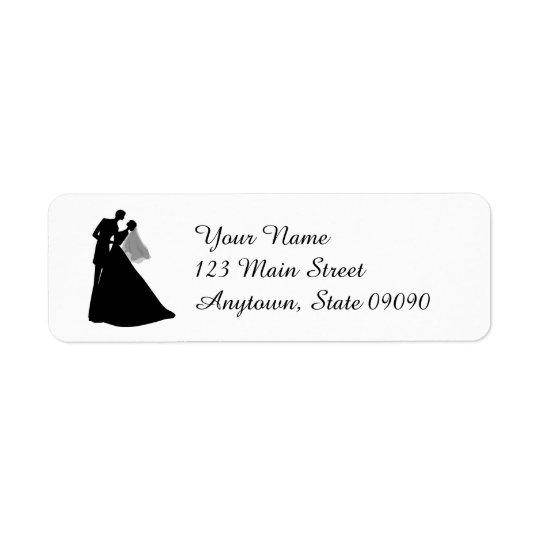 シルエットの花嫁及び新郎の宛名ラベル(黒) ラベル