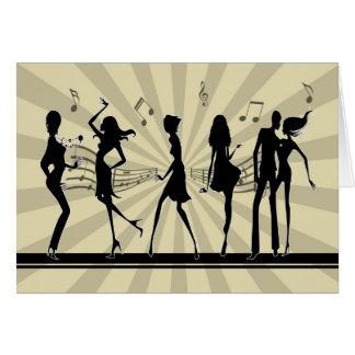シルエットの踊りの踊りのバースデー・カード カード