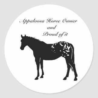 シルエットのAppaloosaの馬 ラウンドシール
