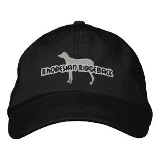 シルエットのRhodesianのRidgebackによって刺繍される帽子 刺繍入りキャップ
