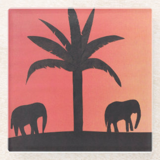 シルエットを描かれた象およびやしを搭載するガラスコースター ガラスコースター