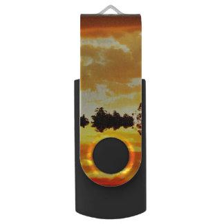 シルエットを描かれる湖の木に反映されるオレンジ日没 USBフラッシュドライブ