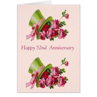 シルクハットおよび花の幸せな第52記念日 カード