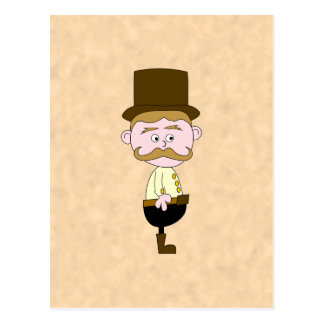 シルクハットおよび髭を搭載する紳士。 カスタム ポストカード