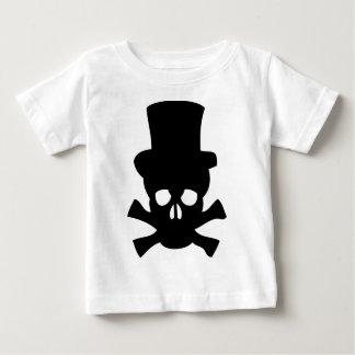 シルクハットが付いている重金属のスカル ベビーTシャツ
