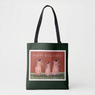 シルクハットの休日のバッグを身に着けているおもしろいなブタ トートバッグ