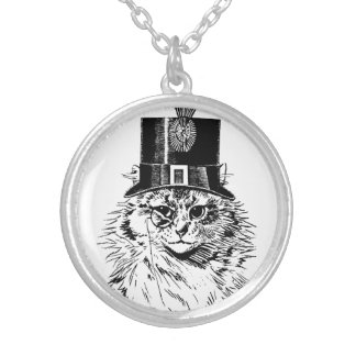 シルクハットのSteampunk猫の子猫 シルバープレートネックレス