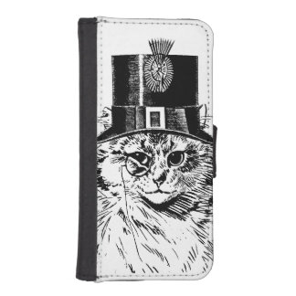 シルクハットのSteampunk猫の子猫 iPhoneSE/5/5sウォレットケース
