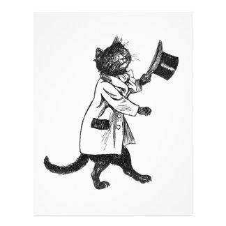 シルクハット猫のヴィンテージの芸術のフライヤ チラシ