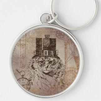 シルクハット、ギア、PocketwatchのSteampunkの子猫猫 キーホルダー