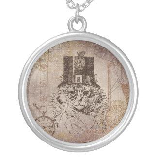 シルクハット、ギア、PocketwatchのSteampunkの子猫猫 シルバープレートネックレス