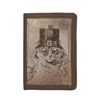 シルクハット、ギア、PocketwatchのSteampunkの子猫猫 ナイロン三つ折りウォレット