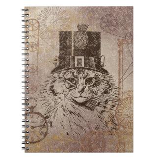 シルクハット、ギア、PocketwatchのSteampunkの子猫猫 ノートブック