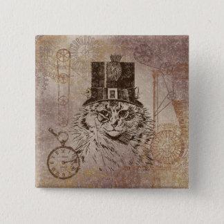 シルクハット、ギア、PocketwatchのSteampunkの子猫猫 5.1cm 正方形バッジ