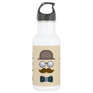 シルクハット、口ひげ、ガラスおよびちょうネクタイ 532ML ウォーターボトル