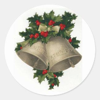 シルバーベルのクリスマスの休日のステッカー ラウンドシール