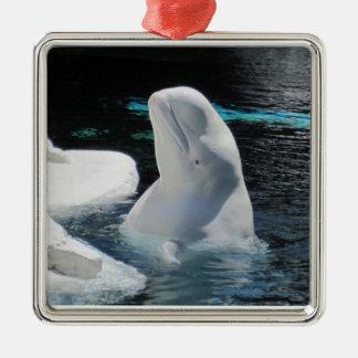 シロイルカのクジラのオーナメント メタルオーナメント