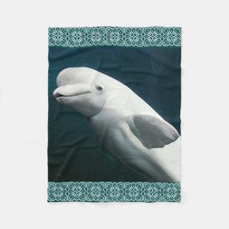 シロイルカのクジラの絵画 フリースブランケット