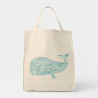 シロナガスクジラのオーガニックな食料雑貨のトートバック トートバッグ