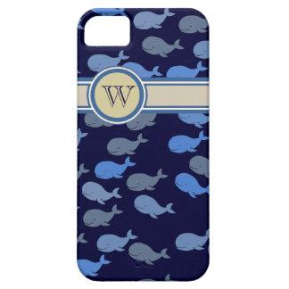 シロナガスクジラのカスタムのモノグラム iPhone SE/5/5s ケース