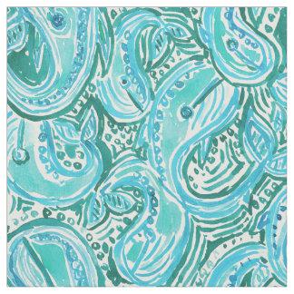 シロナガスクジラの回転のペイズリーのBohoの上品の水彩画 ファブリック