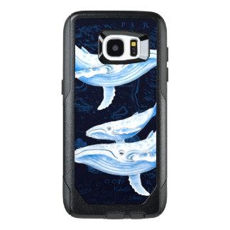 シロナガスクジラ家族のインディゴ オッターボックスSamsung GALAXY S7 EDGEケース