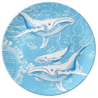 シロナガスクジラ家族 磁器プレート