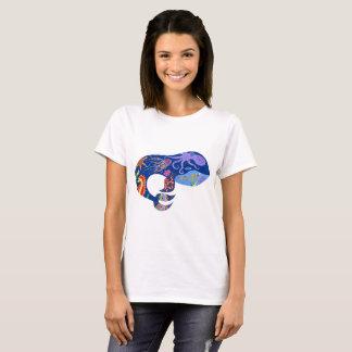 シロナガスクジラ、明るい海洋のデザイン、かわいいクジラ、魚 Tシャツ
