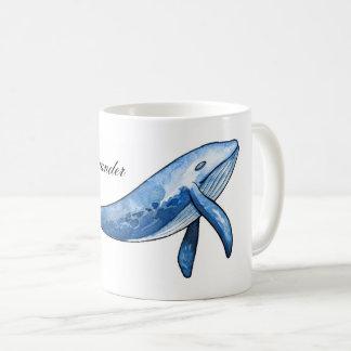 シロナガスクジラ。 航海のな魚のコップ。 海のギフト。 海 コーヒーマグカップ