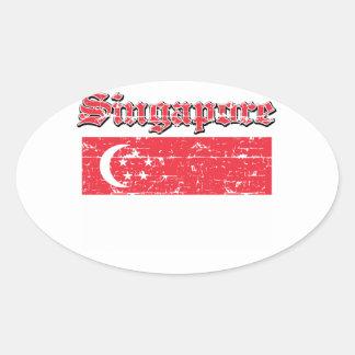 シンガポールのグランジな旗 楕円形シール
