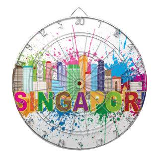 シンガポールのスカイラインのペンキの(ばちゃばちゃ)跳ねるのイラストレーション ダーツボード